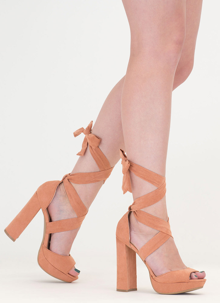 Chic Outcome Chunky Lace-Up Heels MAUVE
