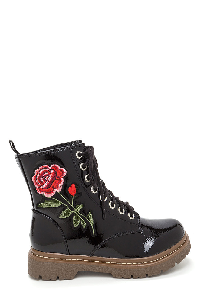 Rosy Creation Lace-Up Faux Patent Boots BLACK