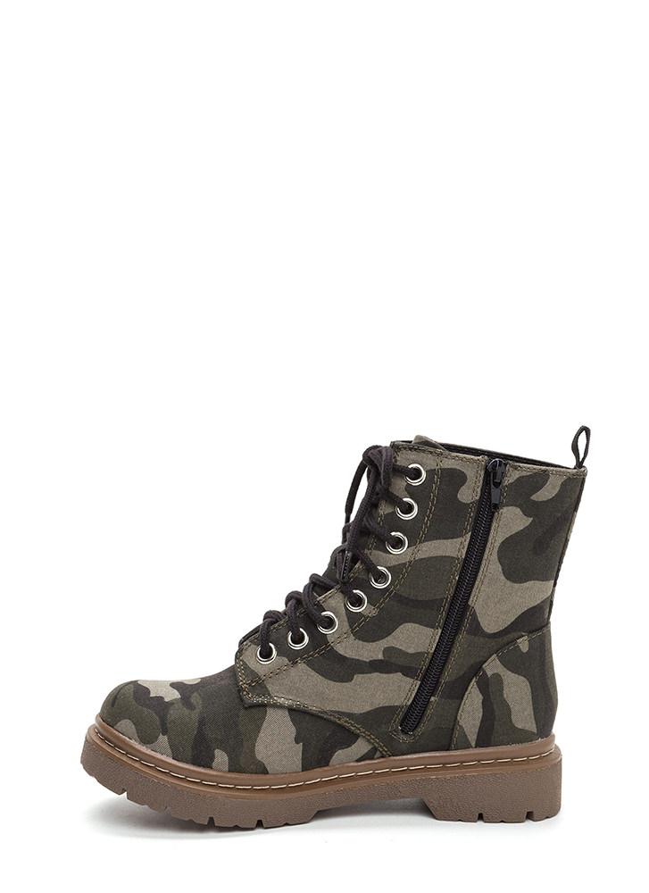 Rosy Creation Lace-Up Camo Boots CAMOUFLAGE