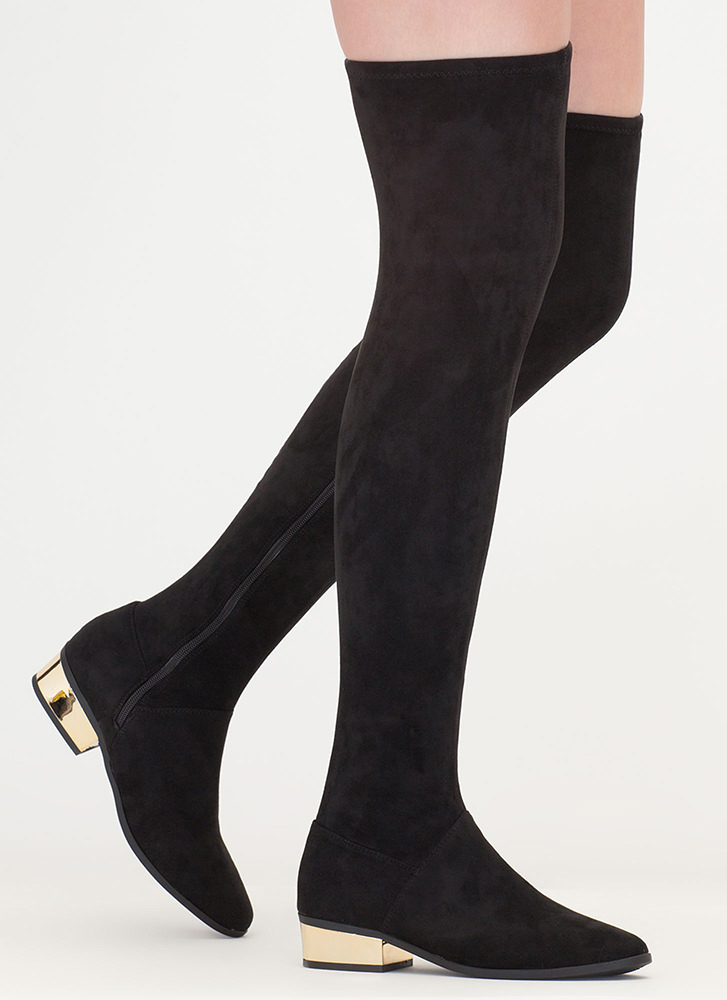 Gleam On Thigh-High Faux Suede Boots MOCHA RED BLACK - GoJane.com