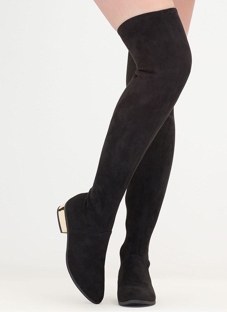 Gleam On Thigh-High Faux Suede Boots BLACK