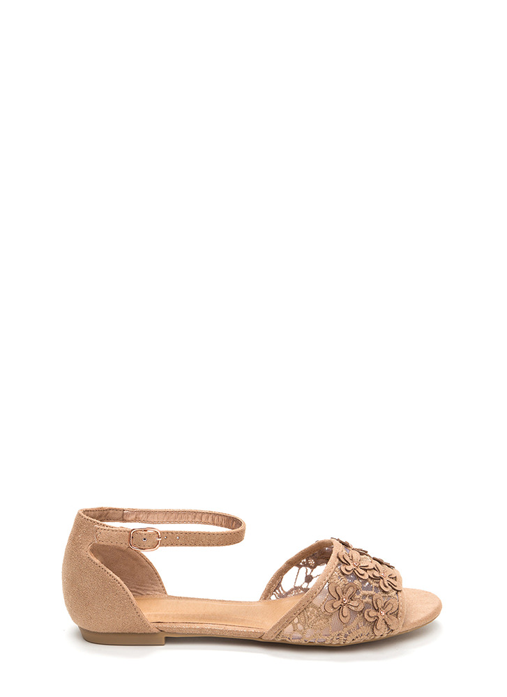 Petal Pusher Shiny Faux Suede Sandals ROSEGOLD