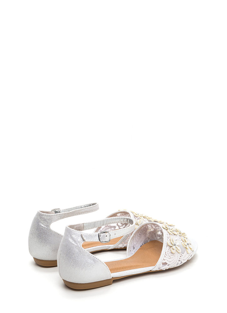 Petal Pusher Shiny Faux Suede Sandals SILVER