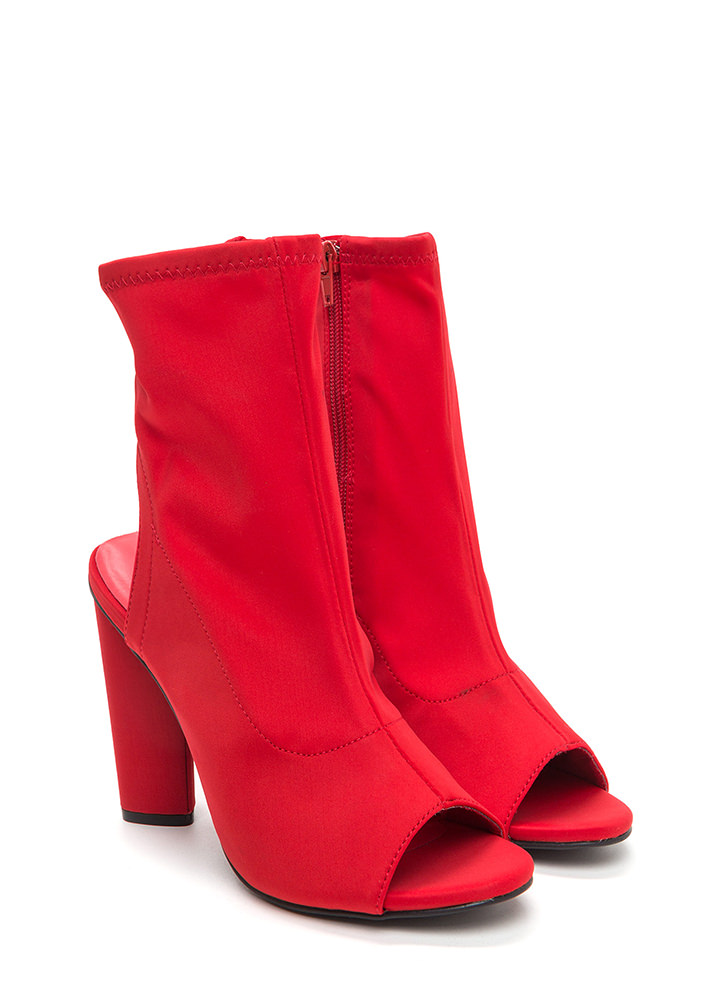 Unique 'N Sleek Chunky Cut-Out Booties RED