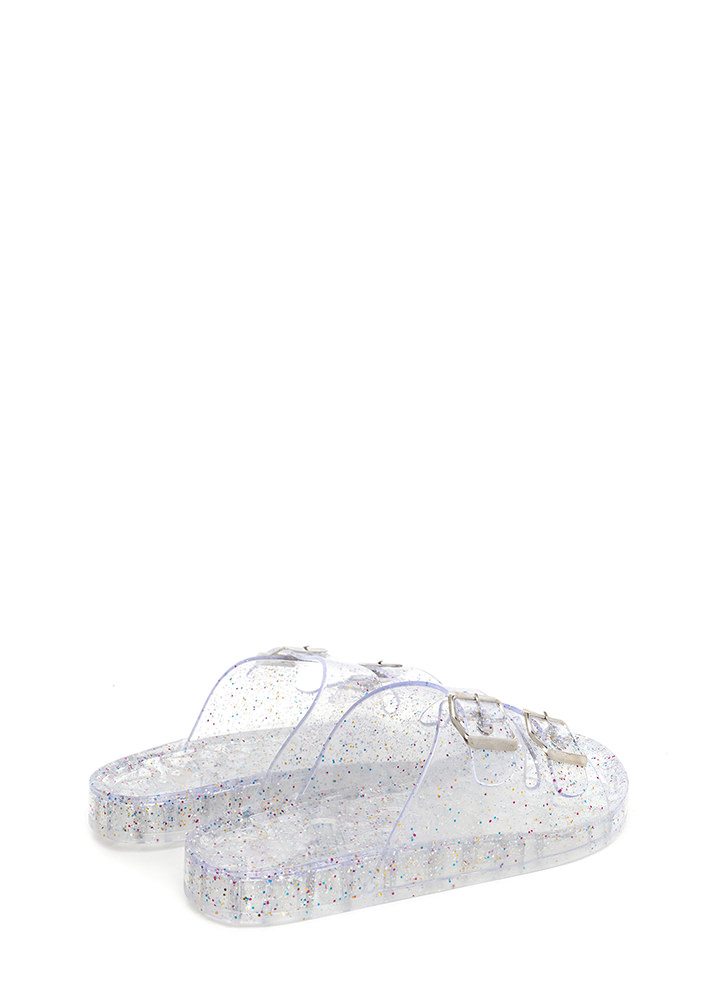 Everyday Glitz Jelly Slide Sandals CLEAR