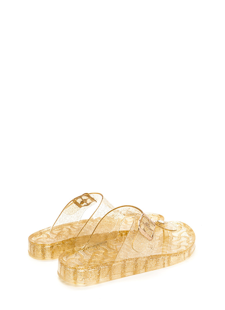 Daily Glitz Thong Jelly Slide Sandals GOLD