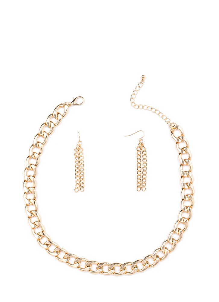 Forever Linked Chain Necklace Set GOLD