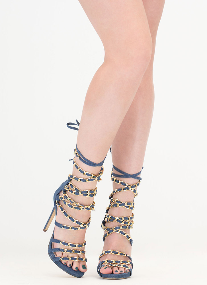 Denim Doll Caged Lace-Up Chain Heels DENIM