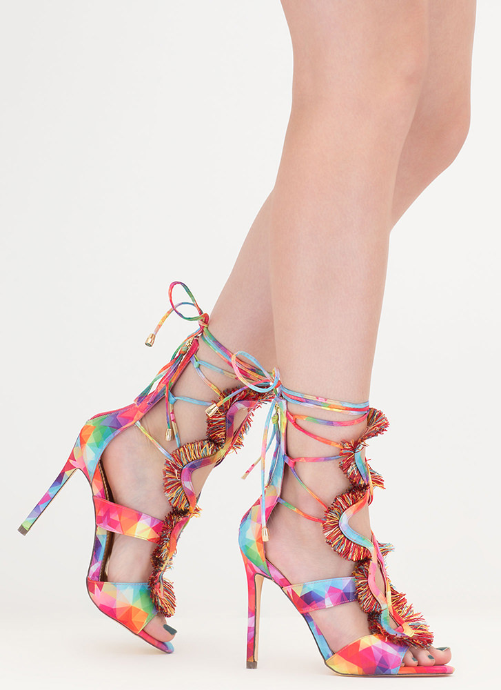Effortless Look Fringed Lace-Up Heels MULTI