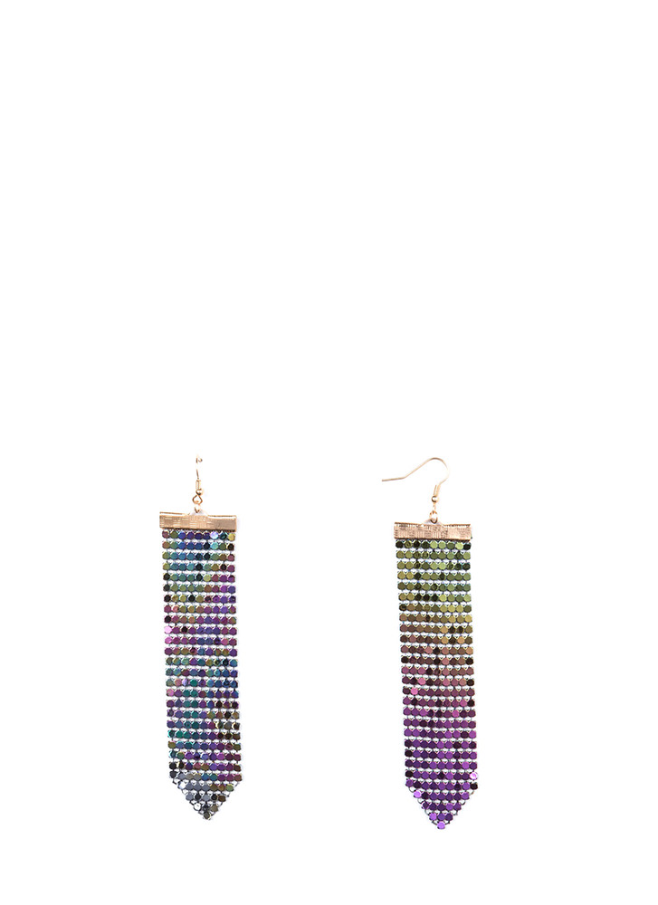 Flash Back Sparkly Chainmail Earrings MULTIGOLD