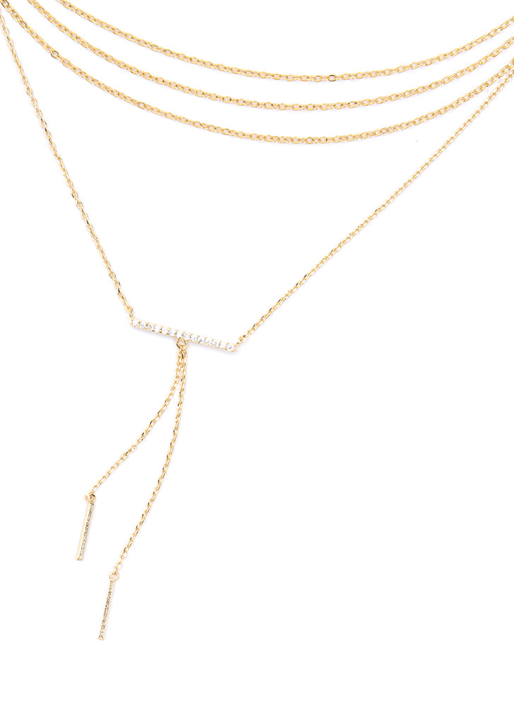Bar None Layered Chain Necklace GOLD