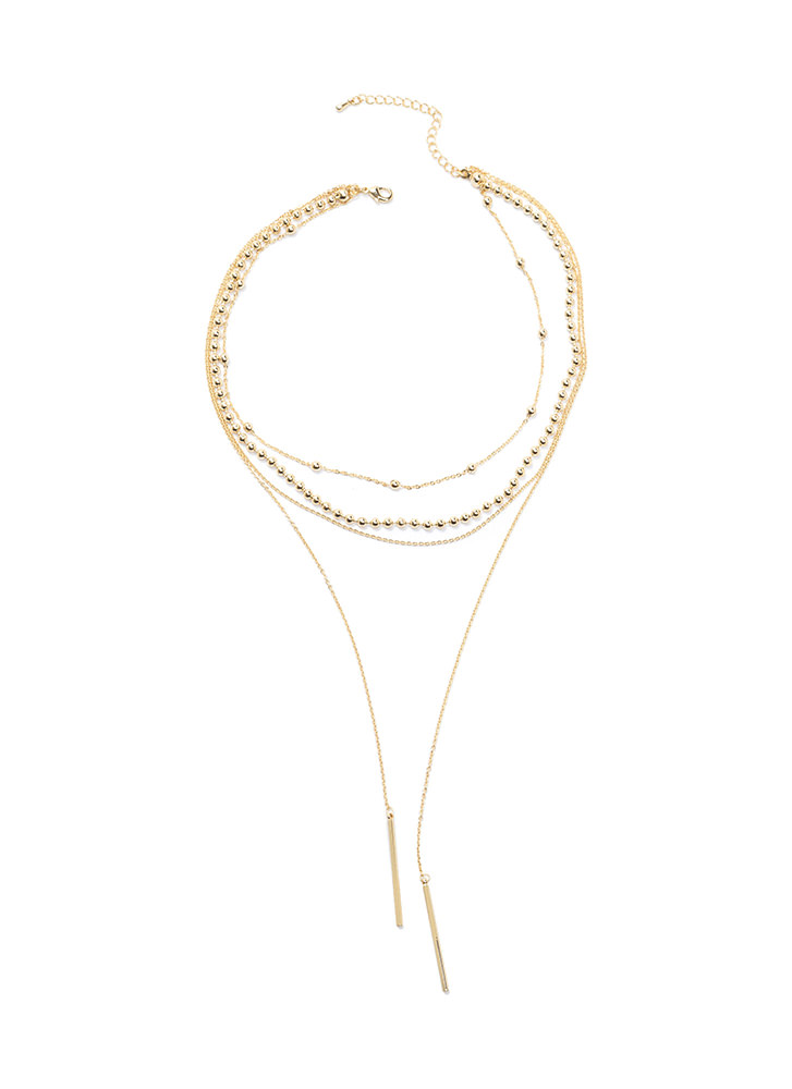 Double Bar Exam Layered Necklace GOLD