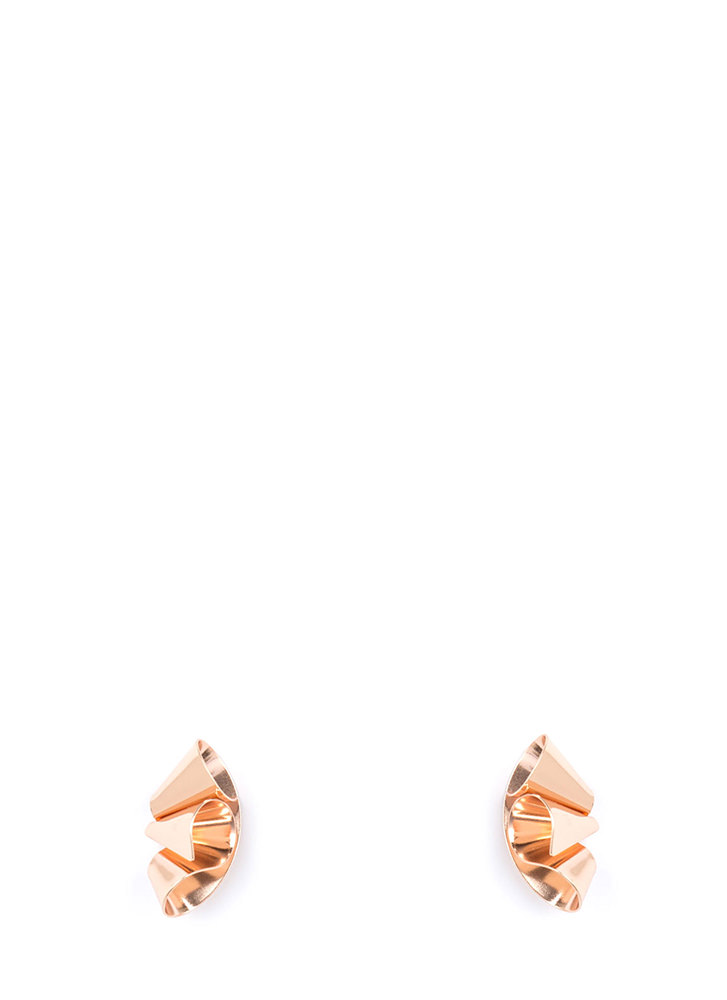 Cut To The Cone Curled Earrings ROSEGOLD