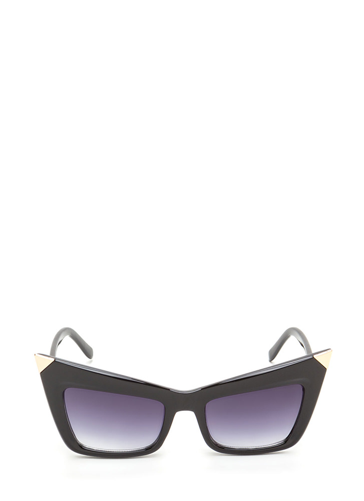 Cool Cat Metallic Point Sunglasses BLACKGOLD