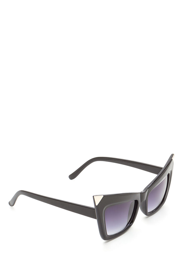 Cool Cat Metallic Point Sunglasses BLACKSILVER