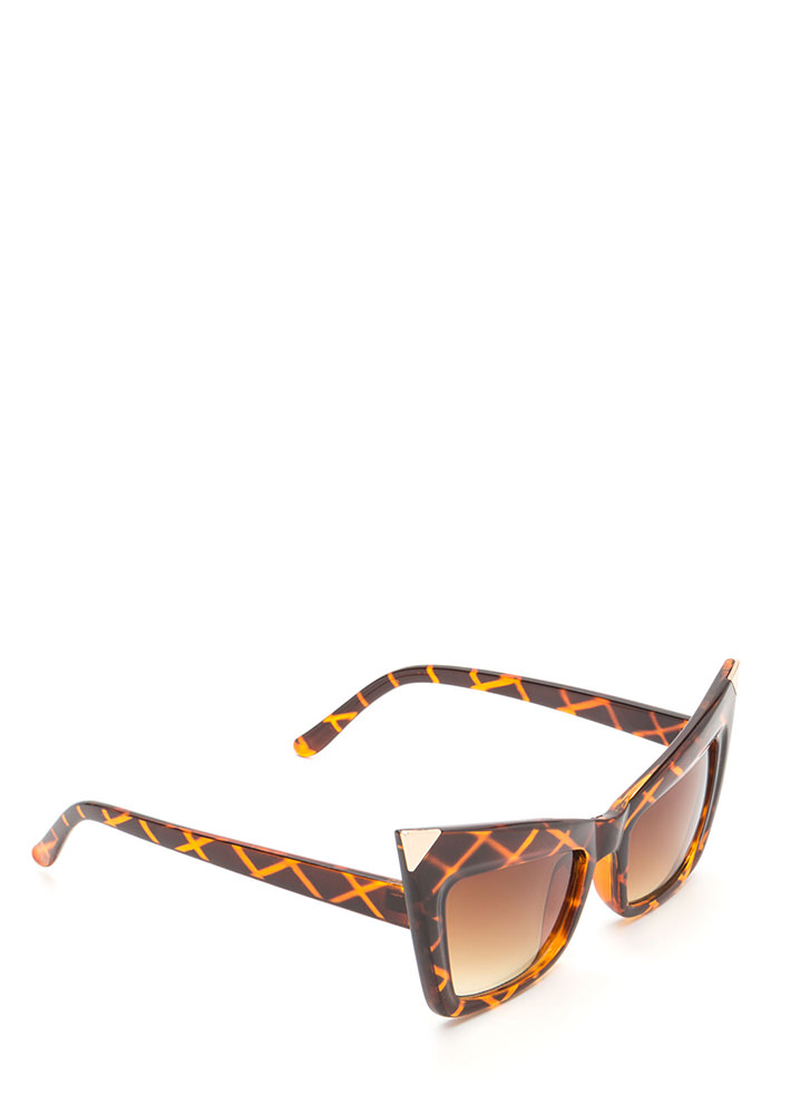 Cool Cat Metallic Point Sunglasses BROWNGOLD