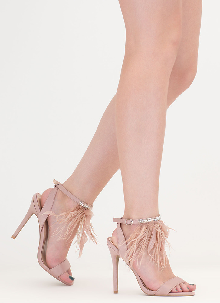 Feather Weight Jeweled Satin Heels NUDE