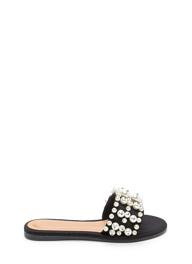 Pearly Treasure Satin Slide Sandals BLACK