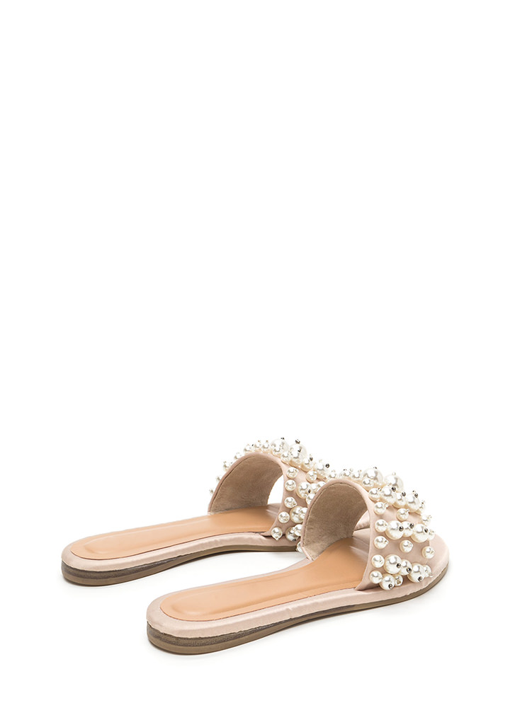 Pearly Treasure Satin Slide Sandals NUDE