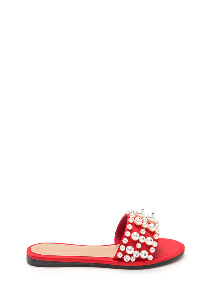 Pearly Treasure Satin Slide Sandals RED