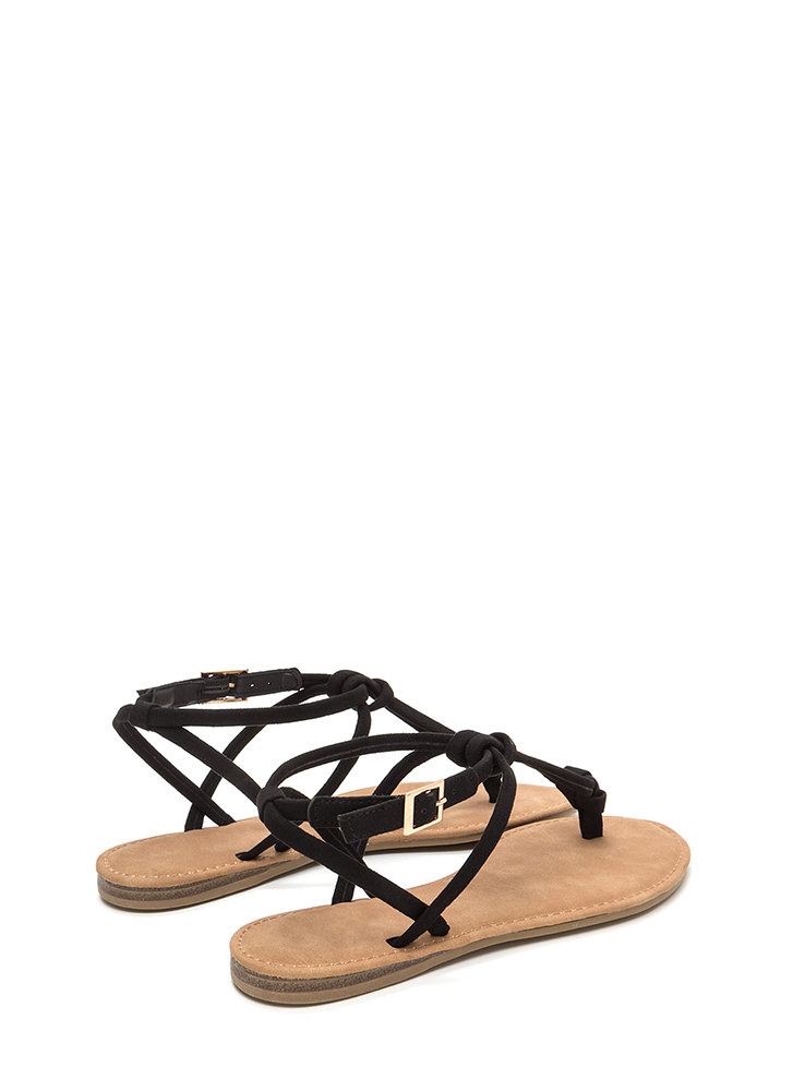 Knot To Worry Faux Suede T-Strap Sandals BLACK