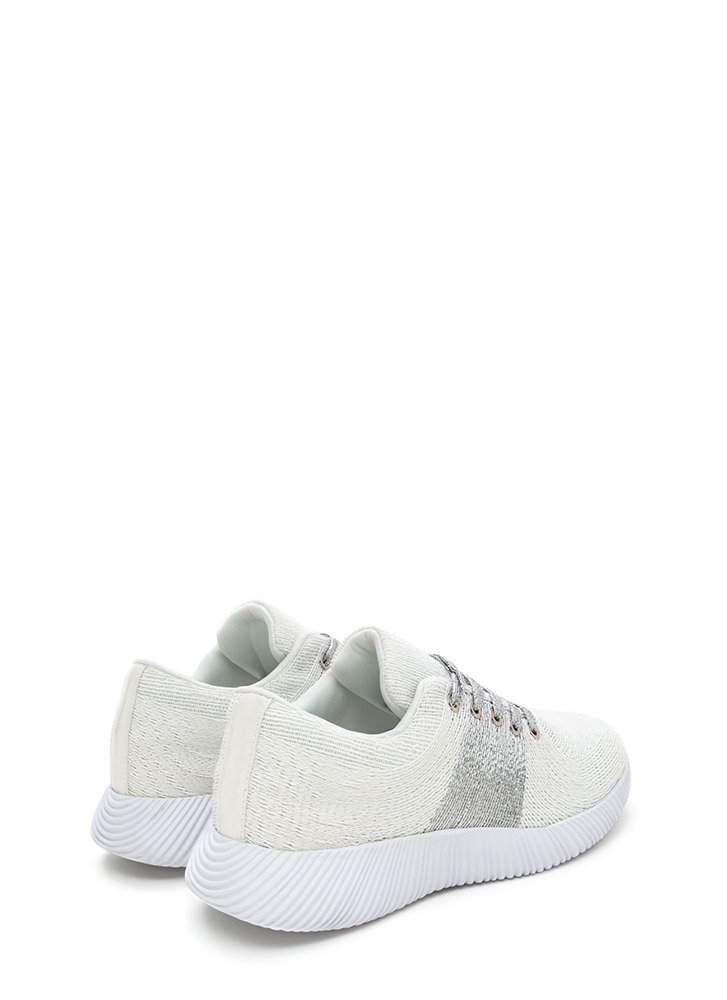 Gleam Up Textured Contrast Sneakers WHITE