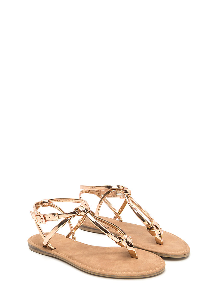 Knot To Worry Metallic T-Strap Sandals ROSEGOLD