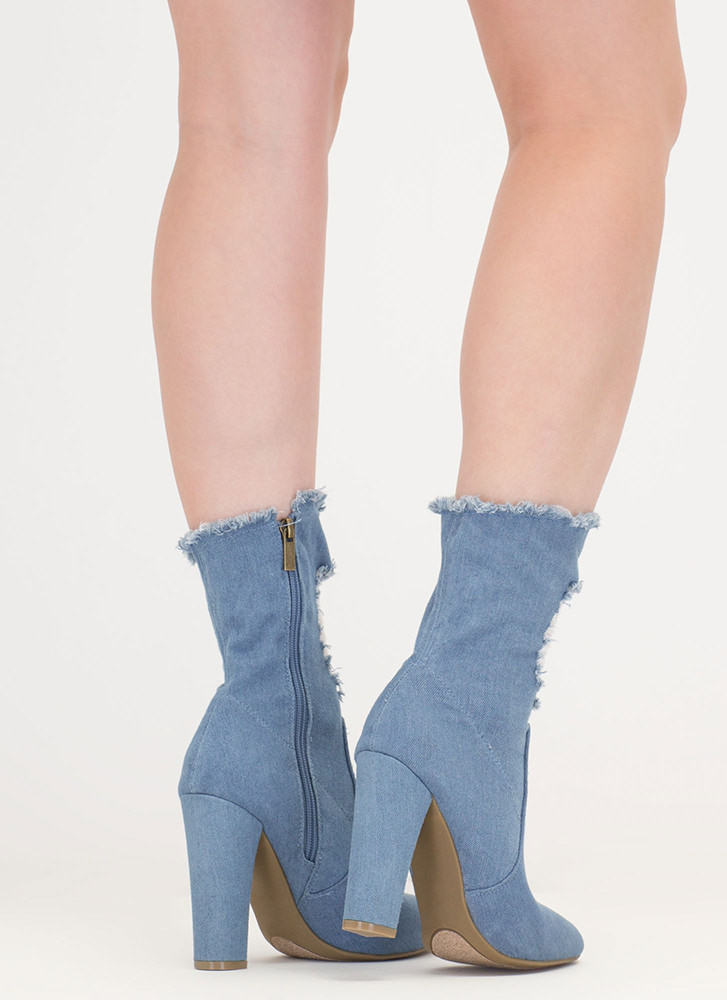 Distress Signal Pointy Denim Booties BLUE