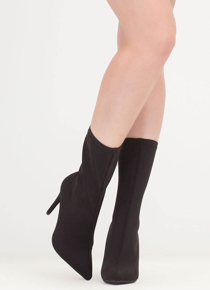 Simply Sleek Pointy Sock Booties BLACK