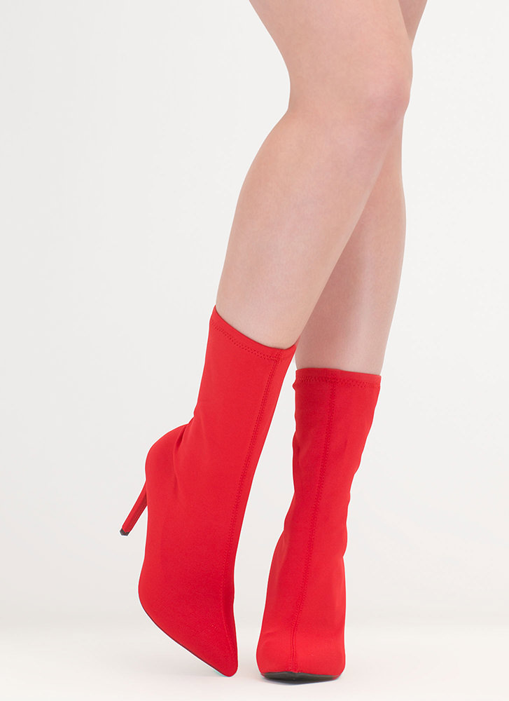 Simply Sleek Pointy Sock Booties RED