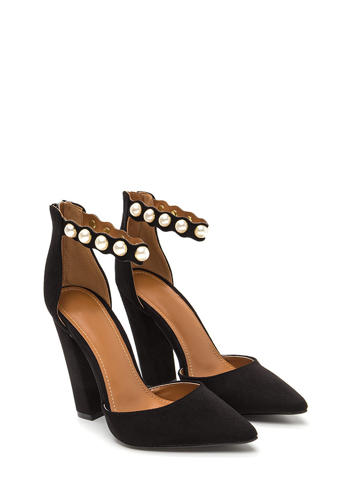 Pearl Party Pointy Chunky Heels BLACK