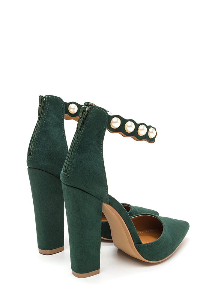 Pearl Party Pointy Chunky Heels GREEN
