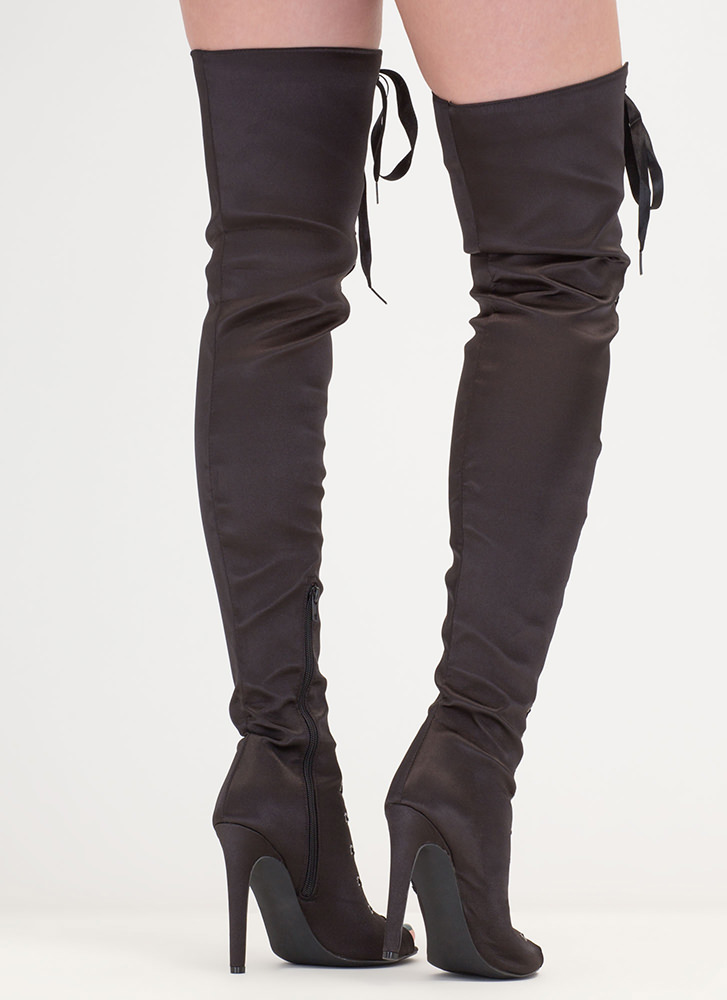 Deluxe Design Lace-Up Thigh-High Boots BLACK