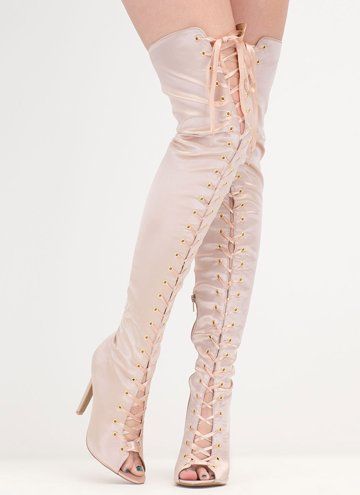 Deluxe Design Lace-Up Thigh-High Boots BLUSH