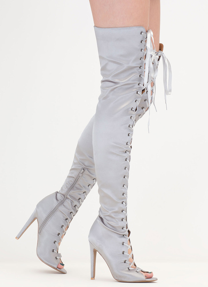 Deluxe Design Lace-Up Thigh-High Boots PEWTER