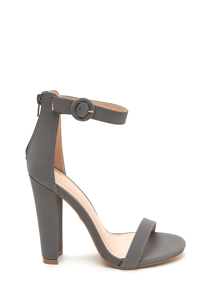 Head Turner Chunky Faux Nubuck Heels GREY