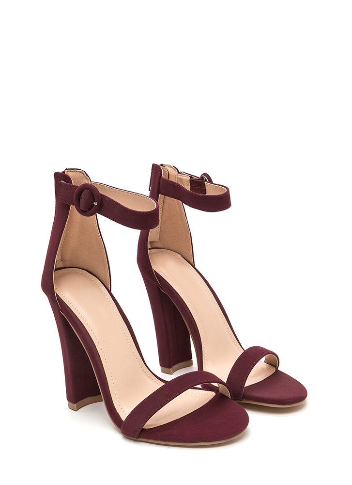 Head Turner Chunky Faux Nubuck Heels WINE