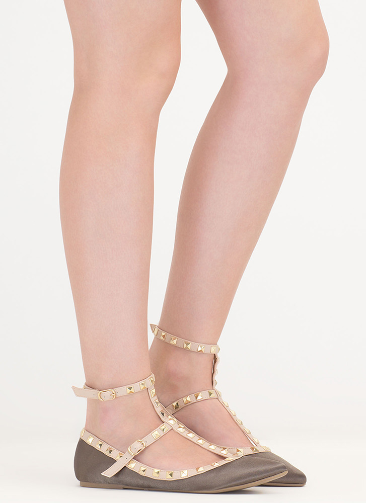 Stud Your Stuff Pointy Caged Satin Flats OLIVE