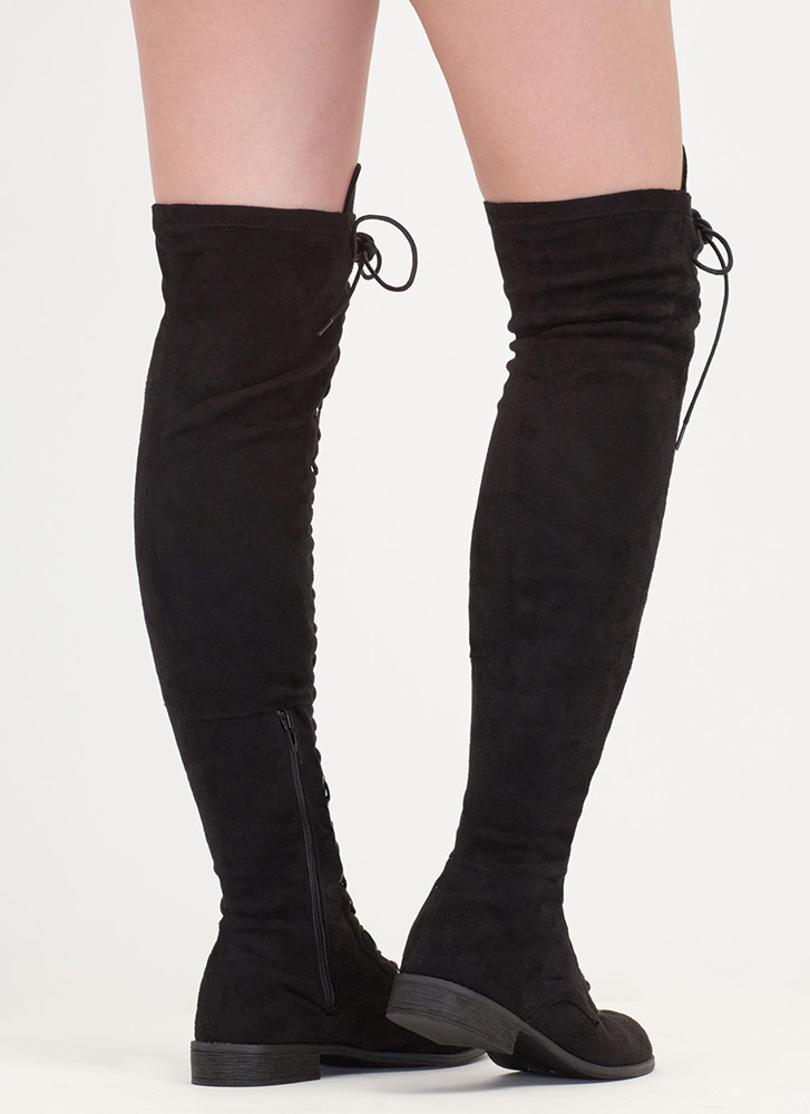 Stand Tall Lace-Up Thigh-High Boots BLACK