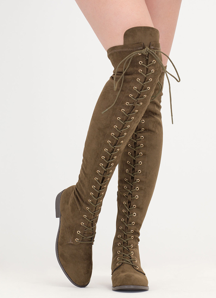 Stand Tall Lace-Up Thigh-High Boots OLIVE