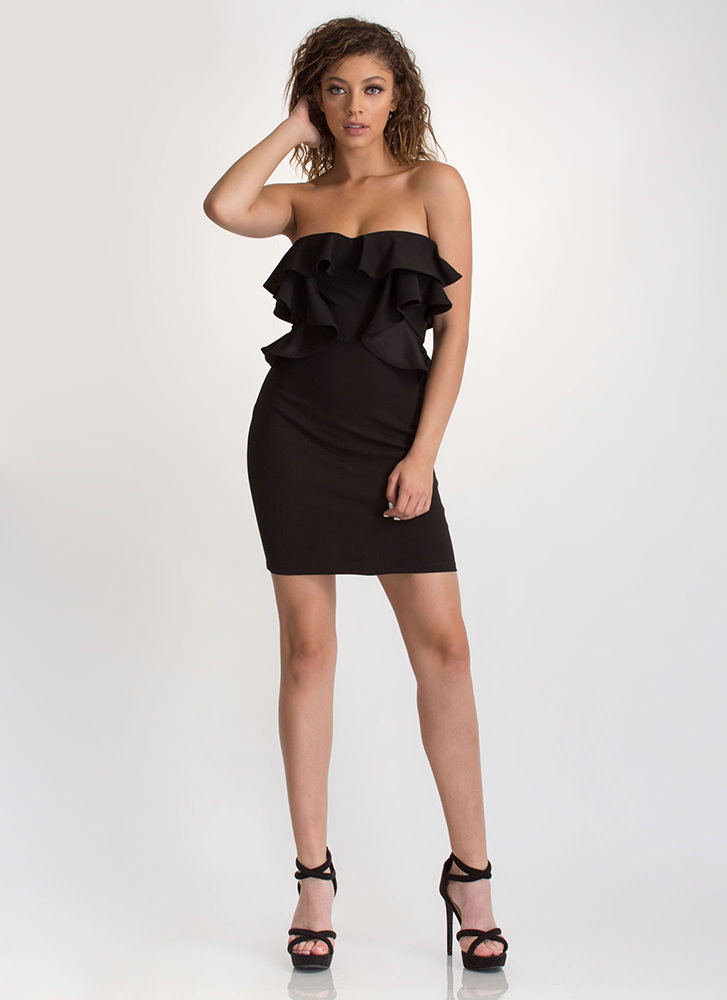 Give You A Frill Strapless Mini Dress BLACK