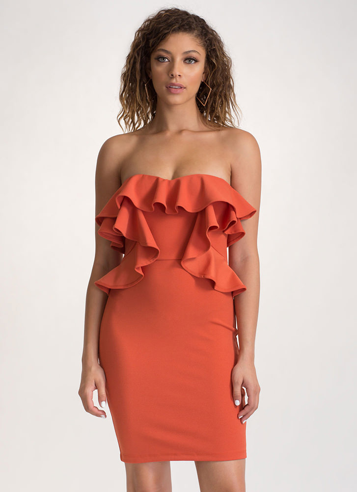 Give You A Frill Strapless Mini Dress GINGER