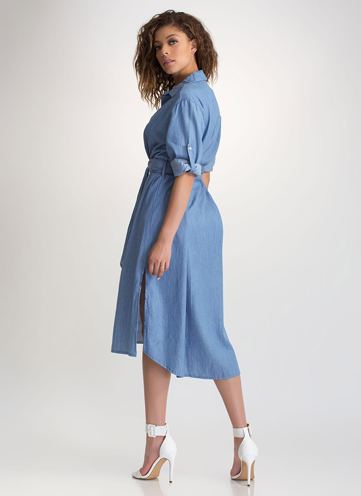 Chambray Special Tied Shirtdress BLUE
