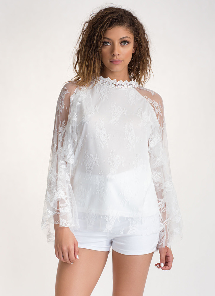 Delicate Touch Ruffled Sheer Lace Top WHITE