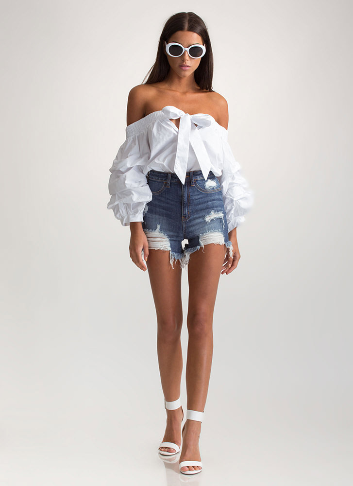Tied With A Bow Off-Shoulder Top WHITE