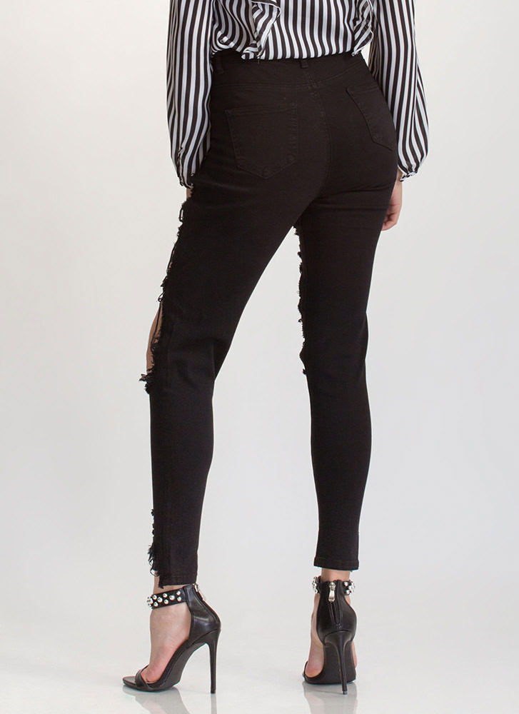 Ripped To Shreds Cut-Out Skinny Jeans BLACK
