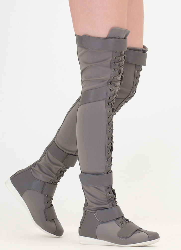 Space Cadet Mixed Media Thigh-High Boots GREY