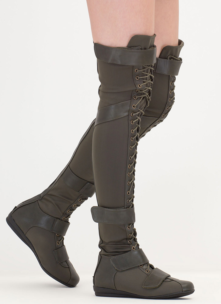 Space Cadet Mixed Media Thigh-High Boots OLIVE