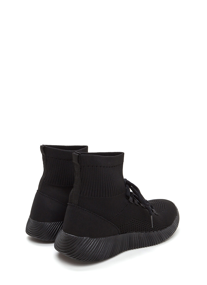 Street Style Knit High-Top Sneakers BLACK
