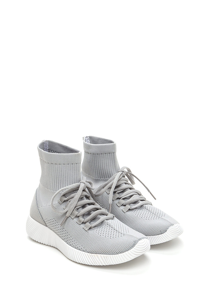 Street Style Knit High-Top Sneakers GREY